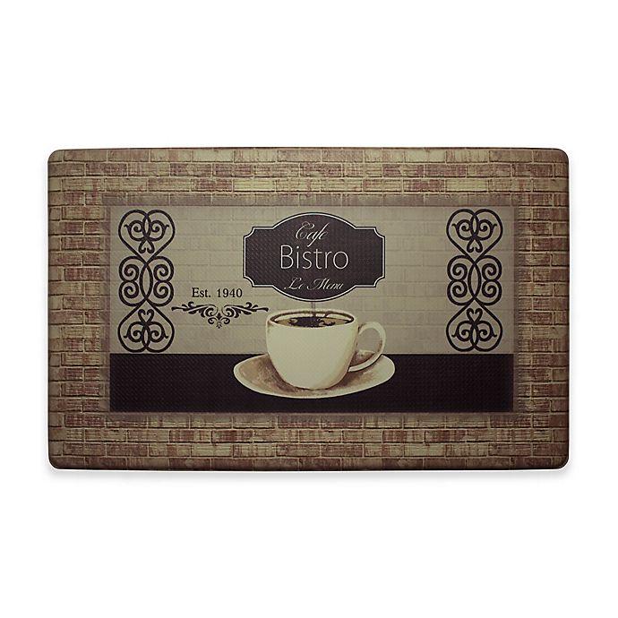 Alternate image 1 for Chef Gear Cafe Bistro Border Gelness 18-Inch x 30-Inch Anti-Fatigue Kitchen Mat in Brown
