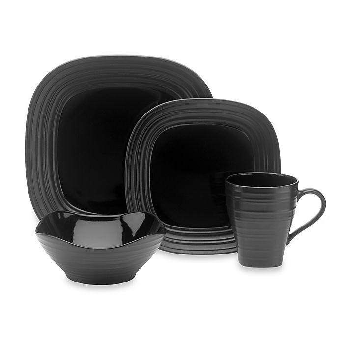 Alternate image 1 for Mikasa® Swirl Square Dinnerware Collection in Black