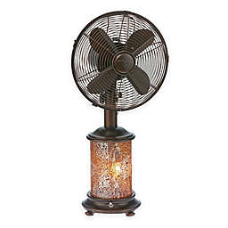 Deco Breeze® Mosaic Glass Oscillating Table Fan with Lighted Base in Brown