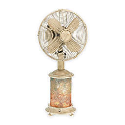 Deco Breeze® Mosaic Glass Oscillating Table Fan with Lighted Base in Blue/White