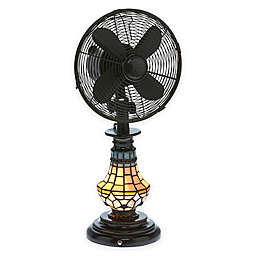 Deco Breeze® Victorian Tiffany-Style Glass Oscillating Table Fan with Lighted Base in Brown/Blue