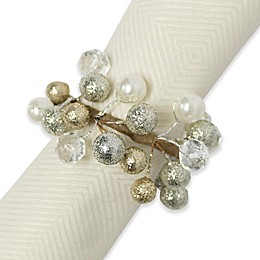 Glitzy Beaded Wreath Napkin Rings (Set of 4)