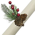 Pine Needles with Berries Napkin Rings (Set of 4)