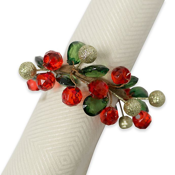 Holiday Sparkle Napkin Ring Set Of 4 Bed Bath Amp Beyond