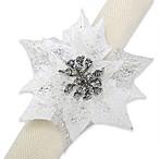 White Poinsettia Napkin Ring (Set of 4)