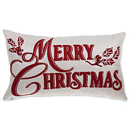 Merry Christmas Oblong Throw Pillow in Red