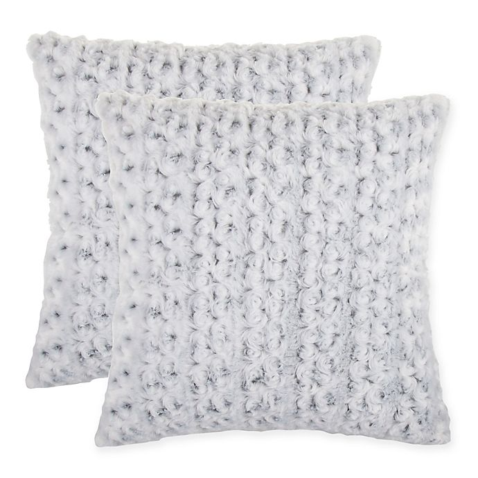 Alternate image 1 for Rosette Faux Fur Square Throw Pillow in Grey (Set of 2)