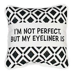 Thro Zoey Eyeliner Square Throw Pillow in White/Black