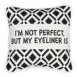Thro Zoey Eyeliner Square Throw Pillow in White/Black