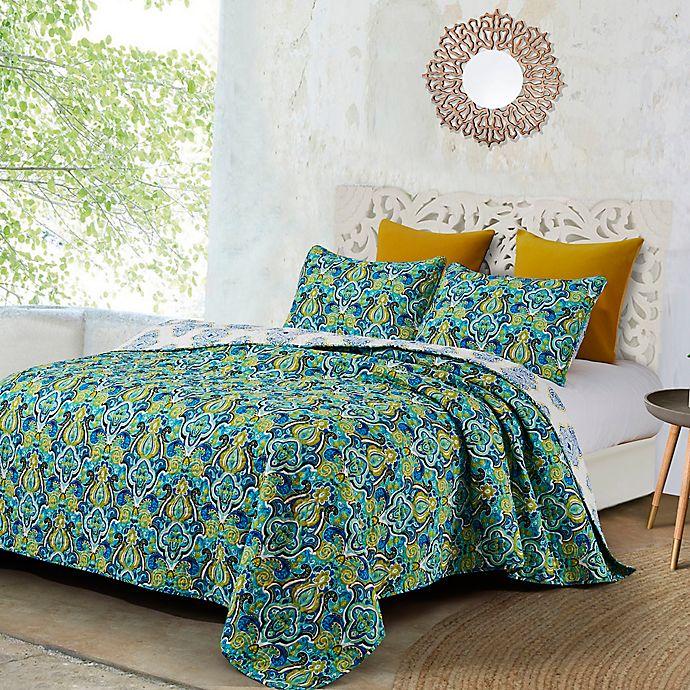 Alternate image 1 for Anya Reversible Quilt Set in Green/Blue
