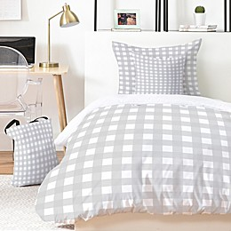 Deny Designs Grey Check 4-Piece Twin/Twin XL Duvet Cover Set in Grey