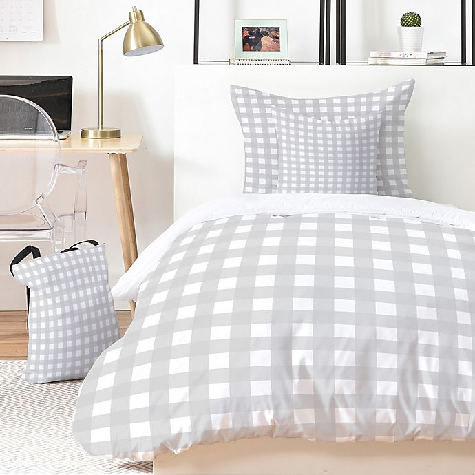Alternate image 1 for Deny Designs Grey Check 2-Piece Twin/Twin XL Duvet Cover Set in Grey