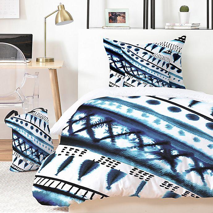 Alternate image 1 for Deny Designs Indigo Stripe 3-Piece Queen Duvet Set in Blue
