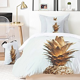 Deny Designs The Gold Pineapple 4-Piece Twin/Twin XL Duvet Cover Set in Gold