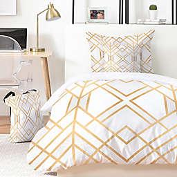 Deny Designs Elisabeth Fredriksson Golden Geo 4-Piece Twin XL Duvet Cover Set in Gold