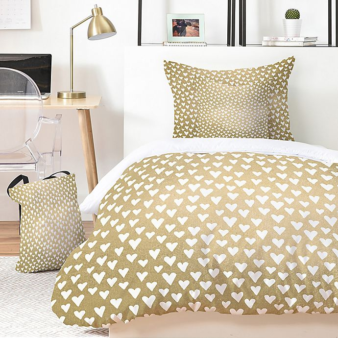 Alternate image 1 for Deny Designs Elisabeth Fredriksson Lil Hearts on Gold 4-Piece Twin XL Duvet Cover Set in Gold