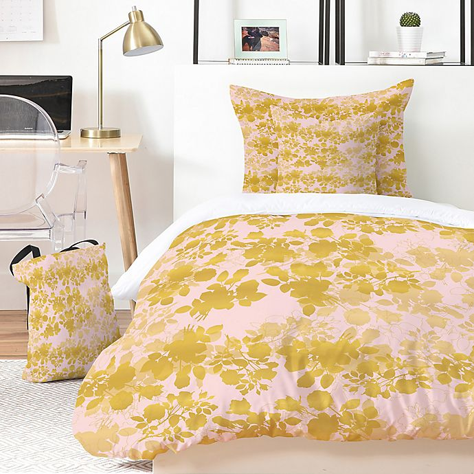 Alternate image 1 for Deny Designs Gabi Audrey Gold 4-Piece Twin XL Duvet Cover Set in Gold