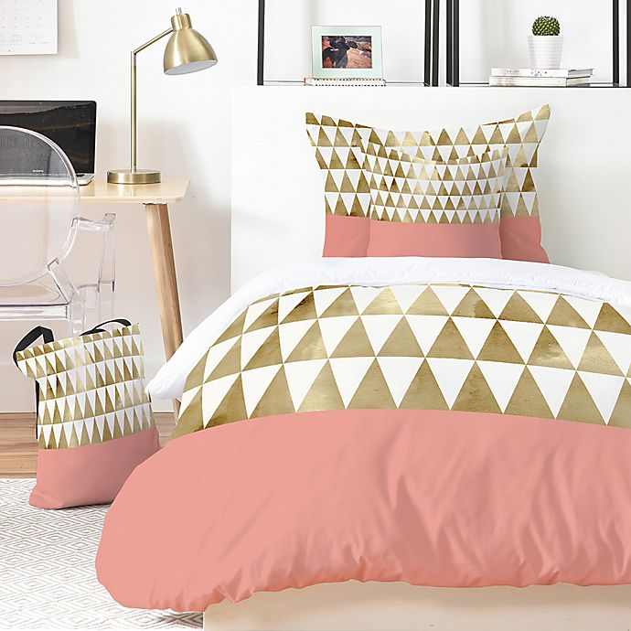 Alternate image 1 for Deny Designs Georgiana Paraschiv Gold Triangles 5-Piece Duvet Cover Set