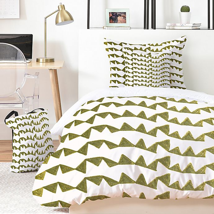 Alternate image 1 for Deny Designs Georgiana Paraschiv Gold Triangle Pattern 4-Piece Twin XL Duvet Cover Set in Gold
