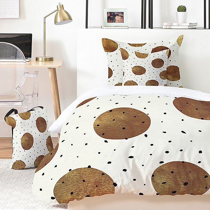 Alternate image 1 for Deny Designs Georgiana Paraschiv Mixed Dots 5-Piece King Duvet Cover Set in Gold