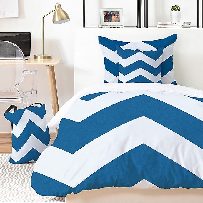 Alternate image 1 for Deny Designs Holli Zollinger Denim Chevron 4-Piece Twin XL Duvet Cover Set in Blue/White