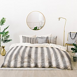 Deny Designs French Linen Seaside Stripe 4-Piece Twin/Twin XL Duvet Cover Set in Grey