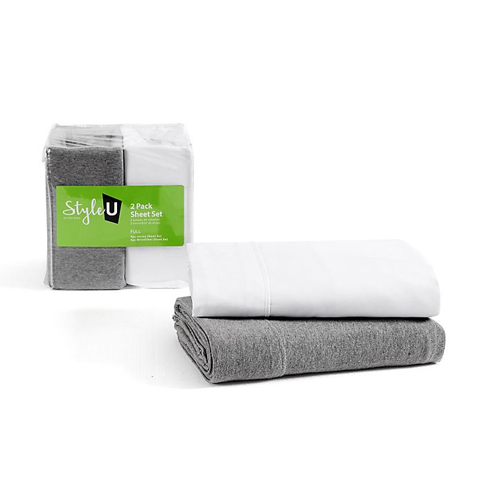 Alternate image 1 for VCNY Home Style U 2-Pack Jersey/Microfiber Sheet Set