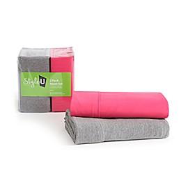 VCNY Home Style U 2-Pack Jersey/Microfiber Sheet Set