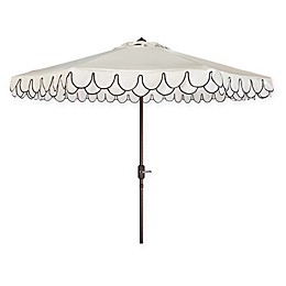 Safavieh Elegant 8-Foot 3-Inch Octagonal Petal Valance Patio Umbrella in Red/White