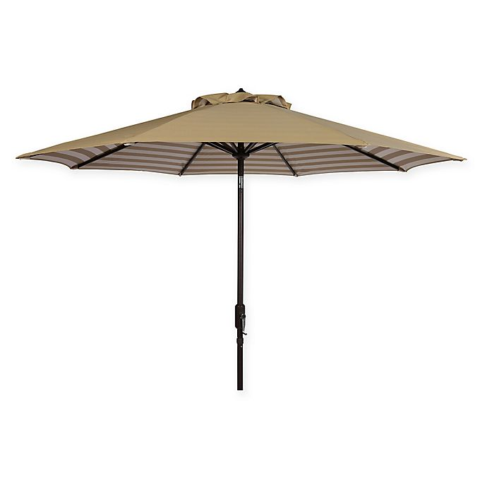 Alternate image 1 for Safavieh UV Resistant Athens Inside Out Striped 9-Foot Crank Umbrella in Beige/White