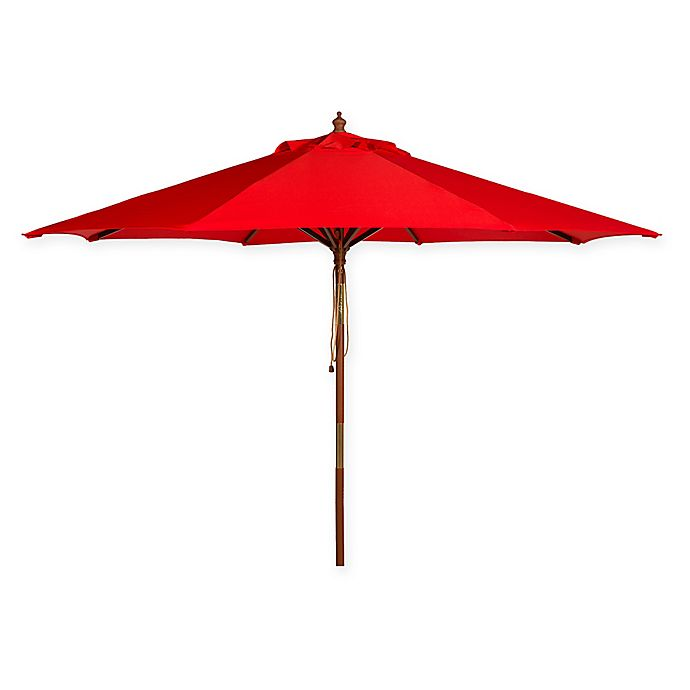 Alternate image 1 for Safavieh UV Resistant Cannes Wooden 9-Foot Market Umbrella