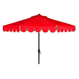 Safavieh UV Resistant Venice Scallop 9-Foot Crank Umbrella in Red/White