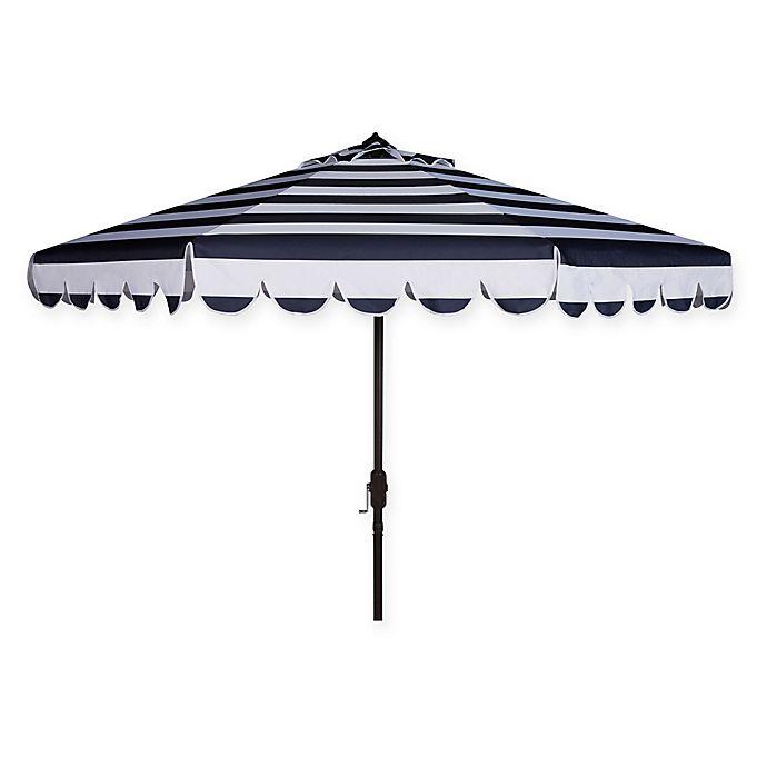 Alternate image 1 for Safavieh UV Resistant Maui Scallop Striped 9-Foot Crank Umbrella