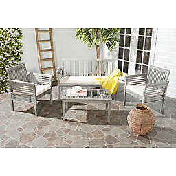 Safavieh Carson 4-Piece Outdoor Patio Conversation Set in Grey Wash/Beige