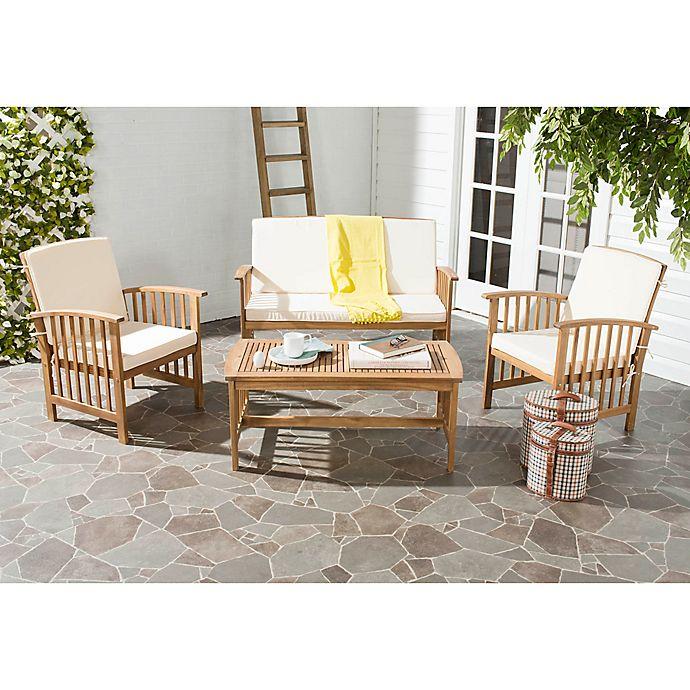 Alternate image 1 for Safavieh Rocklin 4-Piece Outdoor Furniture Set in Teak/Beige