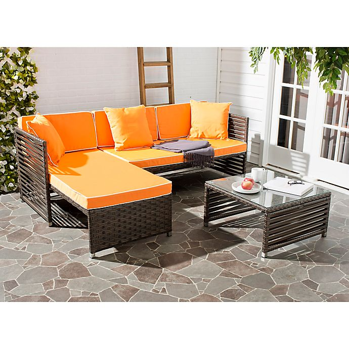 Alternate image 1 for Safavieh Likoma 3-Piece Outdoor Furniture Set in Brown/Orange