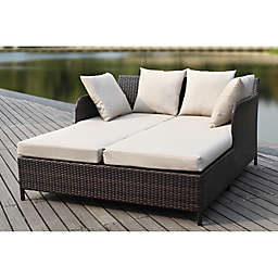Safavieh August Outdoor Rattan Wicker Daybed in Brown/Sand