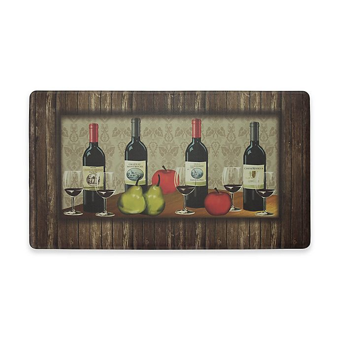 Alternate image 1 for Chef Gear Sophisticated Wine Border Gelness 18-Inch x 30-Inch Anti-Fatigue Kitchen Mat in Brown