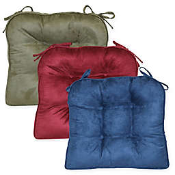 Faux Suede Boxed Edge Seat Cushions (Set of 2)
