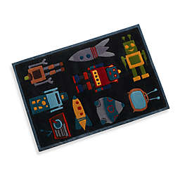 Momeni Lil Mo Robot 3-Foot x 5-Foot Accent Rug in Steel Blue