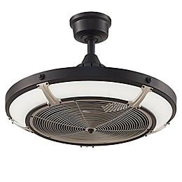 Fanimation Pickett 24-Inch LED Single Light Indoor/Outdoor Drum Ceiling Fan in Matte White