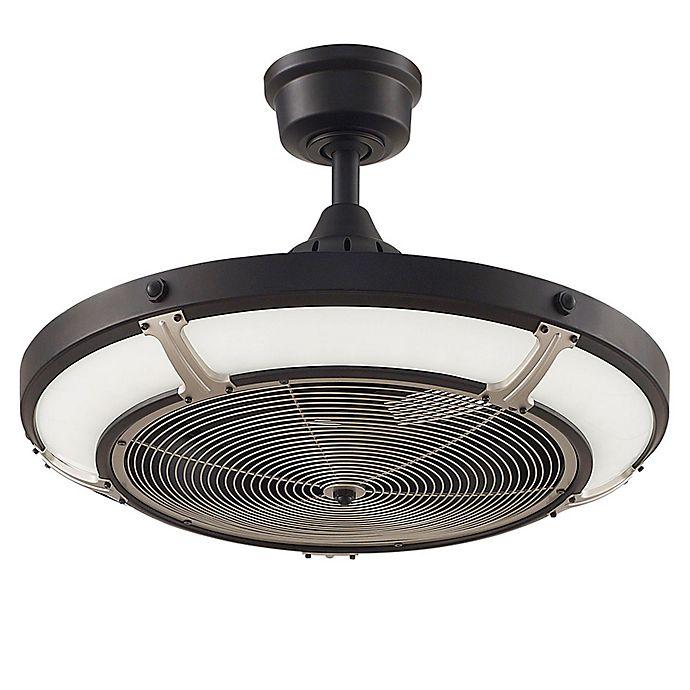 Alternate image 1 for Fanimation Pickett 24-Inch LED Single Light Indoor/Outdoor Drum Ceiling Fan in Matte White