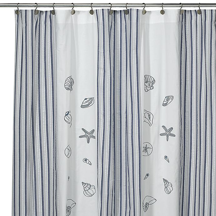 Alternate image 1 for Seaside Fabric Shower Curtain, 100% Cotton