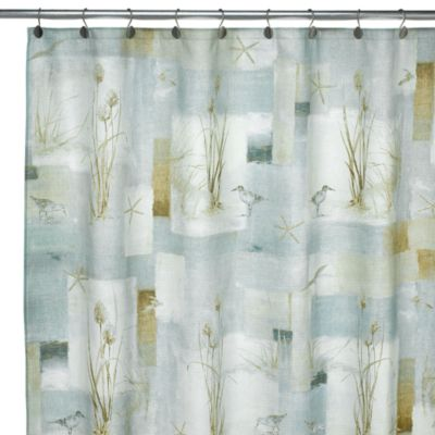 Avanti Blue Waters Fabric Shower Curtain Bed Bath And
