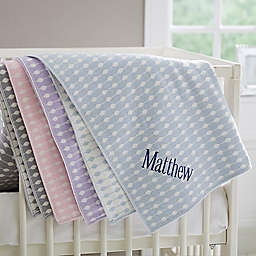 Trendy Dots Embroidered Knit Baby Blanket