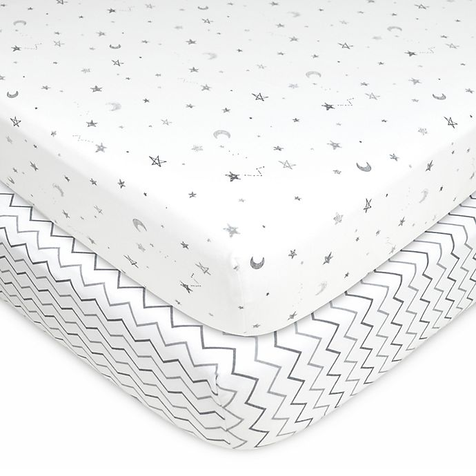 Alternate image 1 for TL Care® 2-Pack Stars, Moon/Chevron Jersey Knit Fitted Crib Sheet