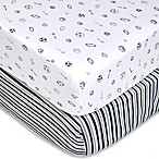 TL Care® 2-Pack Stripes/Sports Jersey Knit Fitted Crib Sheet