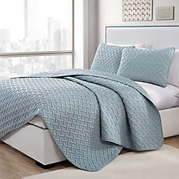 VCNY Home Nia Embossed 2-Piece Twin Quilt Set in Blue