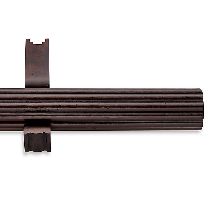 Alternate image 1 for Cambria® Estate Wood 108-Inch Single Fluted Curtain Rod in Chocolate