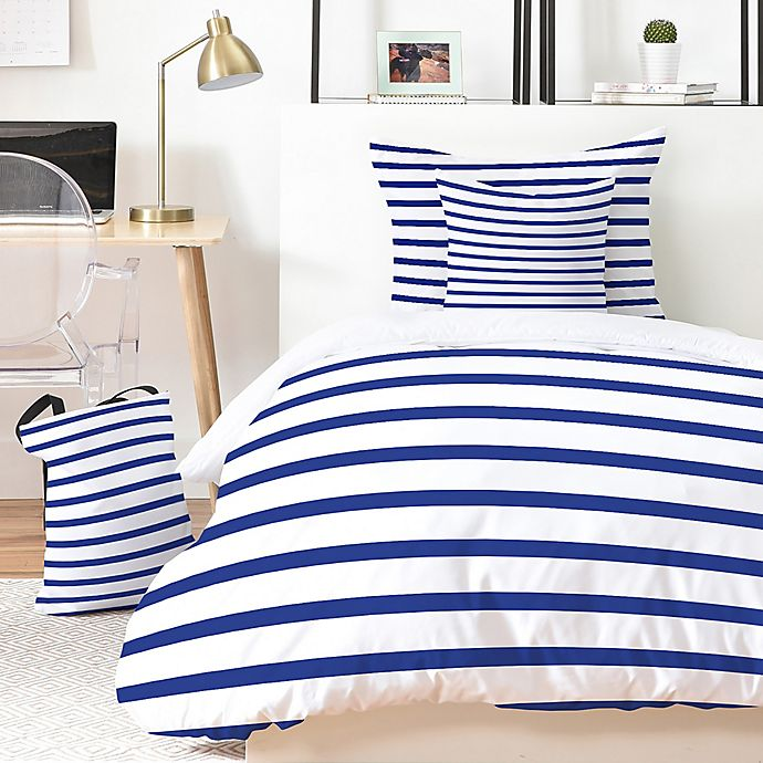 Alternate image 1 for Deny Designs Holli Zollinger Nautical Stripe 4-Piece Twin XL Duvet Cover Set in Blue